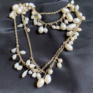Baroque Natural Pearls Dangle Long Necklace 32""